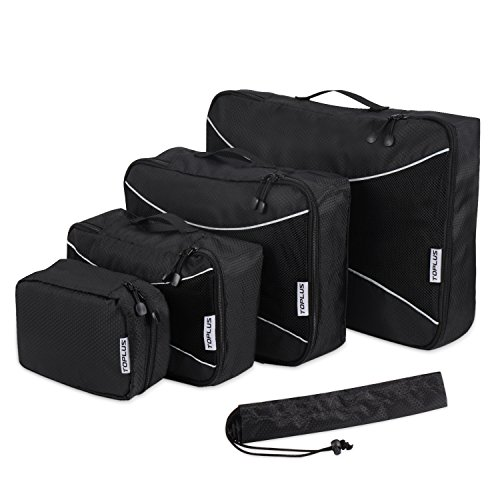 5 Set Packing Cubes, Travel Luggage Packing Organizers with Laundry Bag, Black