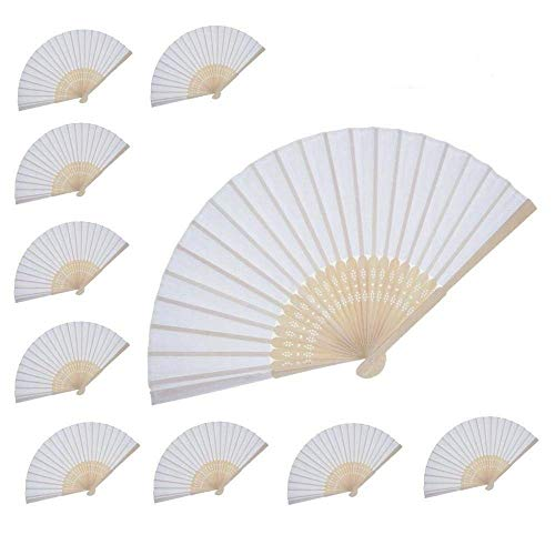 Women Hand Held Folding silk Fan Wedding Party Favor fan 10 pcs (White silk fan) WEN FEIYU by WEN FEIYU