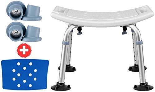 lqgpsx Ergonomischer, höhenverstellbarer Hocker mit Polsterung, Mobilitätshilfe für das Bad, Badesitze für ältere Menschen mit abnehmbarem Rücken, B