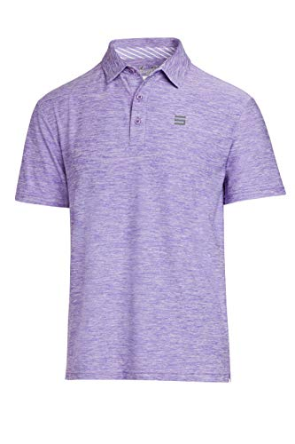 Three Sixty Six Golf Shirts for Men - Dry Fit Short-Sleeve Polo, Athletic Casual Collared T-Shirt Purple