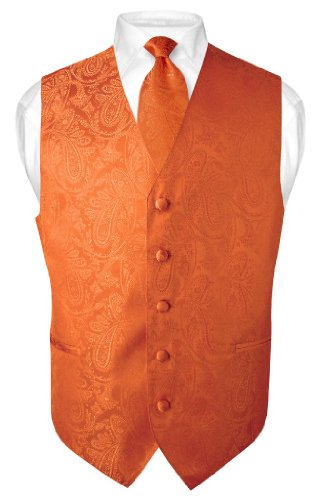 Vesuvio Napoli Men's Paisley Design Dress Vest & NeckTie BURNT ORANGE Color Neck Tie Set sz L
