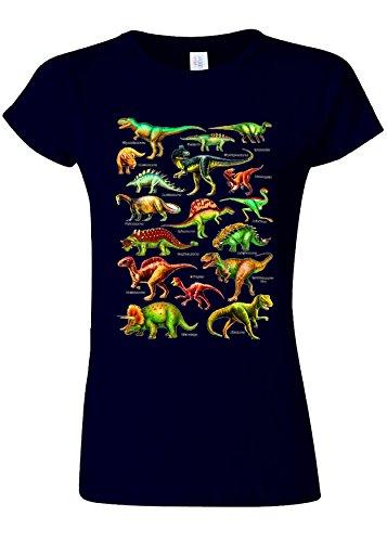 野な待つアジアDinosaurs Names Kinds Funny Novelty Navy Women T Shirt Top-XL