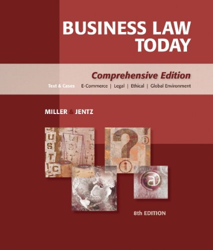 Study Guide for Miller/Jentz's Business Law Today: Comprehensive