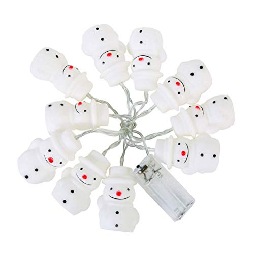BESTOYARD String Lights with 10 LED Bulbs and Rotocast Snowman Covers Waterproof Fairy Lights for Christmas Wedding Party(White)