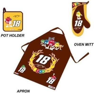 Kyle Busch Cotton - M & M's Candy Kyle Busch #18 NASCAR 3 Piece Apron Gift Set (Apron, Oven Mitt, & Pot Holder)