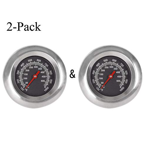 GasSaf 3″ Stainless Steel BBQ Charcoal Grill Pit Wood Smoker High Temperature Gauge Thermometer Replacement for Select Gas Grill Models by Cuisinart, Master Forge and Others -100F to 1000F(2-Pack)