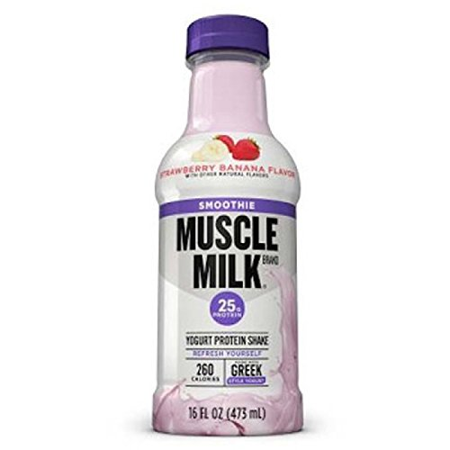 Muscle Milk Smoothie Protein Yogurt Shake, Strawberry Banana, 25g Protein, 16 FL OZ (Pack of 12)