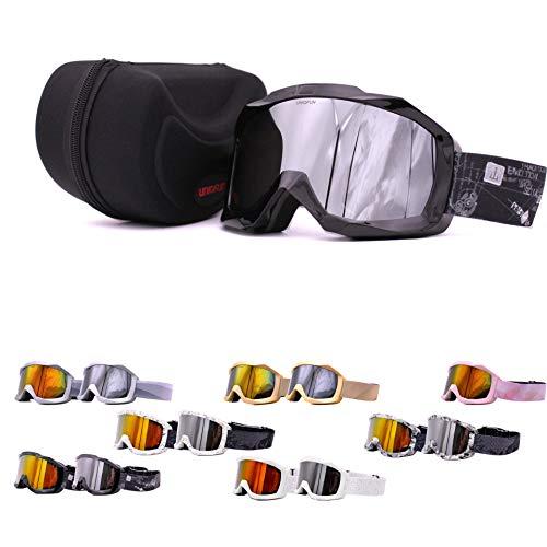 UNIQFUN(유니《구훈》) 스키 고글 고글 스노보드 스키 밀러 렌즈 더블 렌즈 흐림금지 UV컷 맨즈 레이디스 케이스 첨부 안경 병용 안경 대응 헬멧가