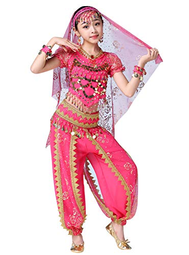 ORIDOOR India Bollywood Costume Belly Dancing Suit for Girls Kids Chiffon Harem Pants Halloween Performence 5-Piece Outfit X-Large Rose -