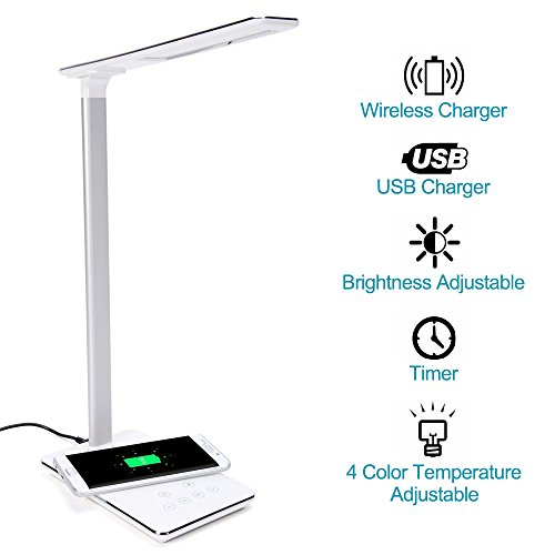 Price comparison product image ElementDigital LED Desk Lamp Wireless Charger Smart LED Home Office Table Lamp with Qi-enabled Wireless Charger and USB charging Adjustable Color Temperature for iPhone X,  Samsung S6 (White)