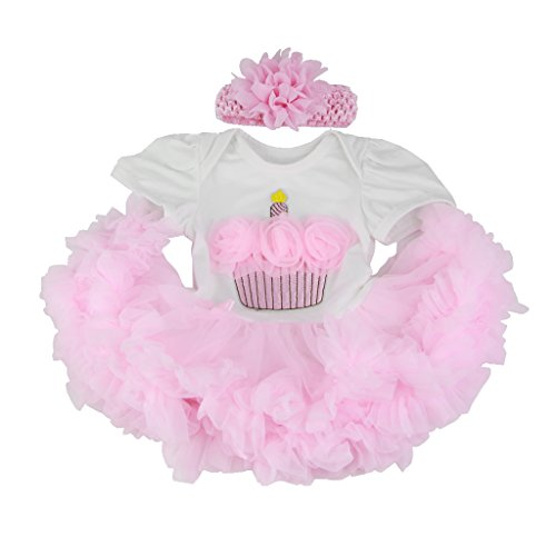 Baoblaze Lovely Cake Printed Rompers Dress Tiered Skirt Headband Suit for 22-23inch Reborn Baby Newborn Girl Dolls Clothes Pink