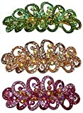 Set of 3 Crystal Ribbon Barrettes Hair Clips Dazzled with Aurore Boreale Crystals RW86012-6359-3