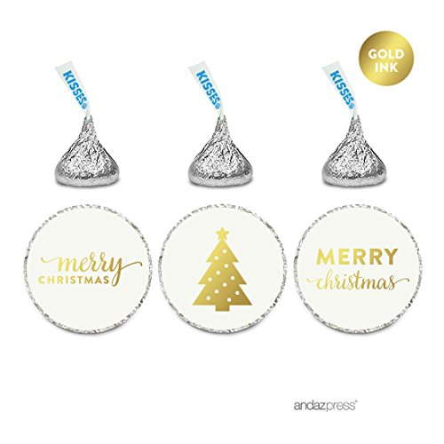 Andaz Press Christmas Collection Chocolate Drop Labels, Metallic Gold Ink Merry Christmas, 216-Pack, Fits Hershey's Kisses Party Favors