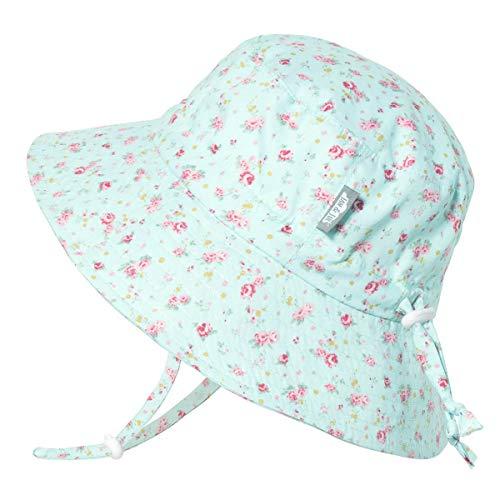 JAN & JUL Toddler Girls Cotton Bucket Sun Hats 50 UPF, Drawstring Adjustable, Stay-on Tie (M: 6-24m, Retro Rose)