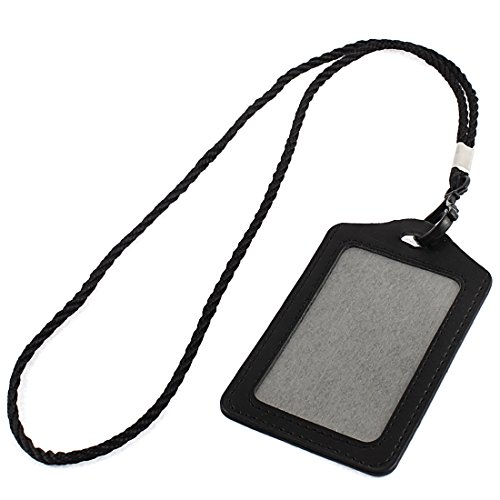 uxcell Faux Leather Vertical Design Lanyard Company Name Badge Card Holder