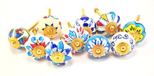 """set of 10 blue & white floral ceramic cupboard cabinet knobs drawer pulls Small 1.5"""" diameter"""