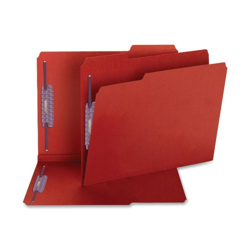 SMD14936 - Smead 14936 Bright Red Colored Pressboard Fastener File Folders with SafeSHIELD Fasteners