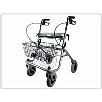 PROFI-Rollator, Rollator mit Sitzbrett, Ablagetablett und mit hochwertigen integriertem Stockhalter, Gehhilfe, Farbe Silber *Top-Qualität zum Top-Preis*