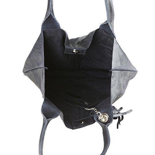 Italy Blu Shopper Made Pelle Borsa Vera Cm Chicca A 39x36x20 In Scuro Donna Mano Borse Handbag Da qAET1