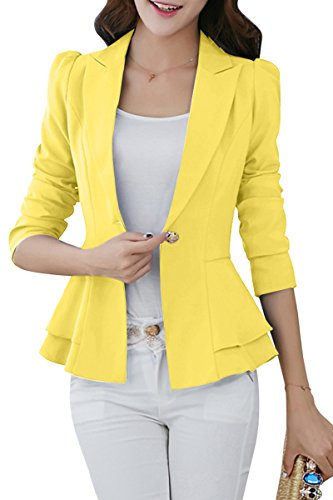 [YMING Womens Casual Work Office Blazer Jacket Yellow XL] (Miami Vice Outfits)