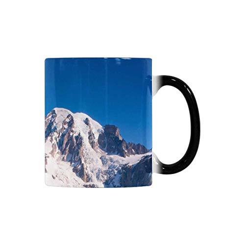 InterestPrint Mt Rainier National Park Wildflowers Summer Time Cascade Mountain Wilderness Heat Sensitive Coffee Mug, Color Changing Morphing Tea Cup Funny, 11 Ounce