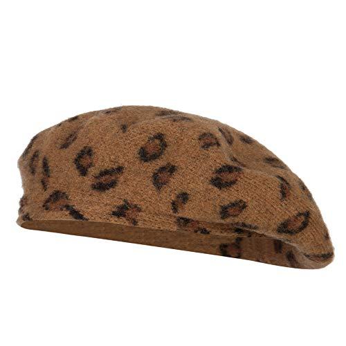 Woman's Wool Blend Animal Print Beret hat - Taupe OSFM Animal Print Newsboy Hat