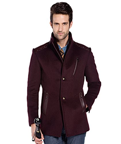Fit Warm Business Wool Coat Wine Coats Slim Trench Red Men's Peacoat NiSeng Winter Blend Jacket wEqvXxP