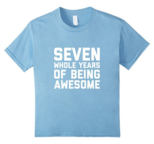 Kids 7th Birthday Shirt Gift Age 7 Year Old Boy Girl Tshirt Tee 8 Baby Blue