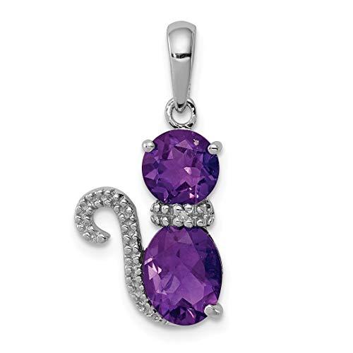 Purple Amethyst Diamond Cat Pendant Charm Necklace Animal Fine Jewelry For Women Gift Set ()