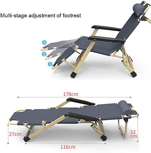 AKSHOME Folding Garden Sun Lounger Chair, Foldable Recliner, Leisure Recliner Garden Recliner, Padded Folding Armchair, Maximum Weight 180 Kg-Teslin Black