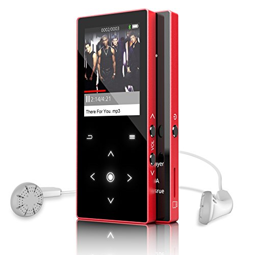 Dansrue Bluetooth 4.0 MP3 Music Player with FM Radio/ Recorder/ E-book, 8GB Portable Lossless Sound Audio Player Metal Shell Touch Buttons, SD Card Support up to 64GB (M05 Red)