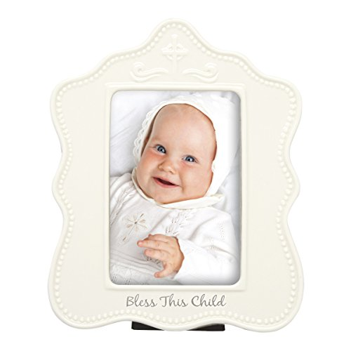 C.R. Gibson 'Bless This Child' Ceramic Frame for Baby Baptisms and Christenings, 10 x 8.5 x 1.4 inches,1 Piece