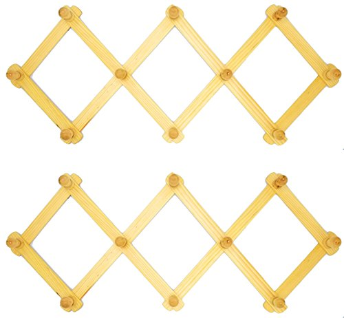 JVLM Home Expandable Wooden Hanger Accordion Style Wood Wall Peg Rack - Set of ()