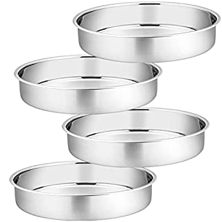 11 Inch Cake Pan Set of 4, P&P CHEF Stainless Steel Large Round Baking Pans, for Birthday Wedding Thanksgiving, Non Toxic & Healthy, One-piece Molding & Straight Sided, Mirror Finish & Easy Clean