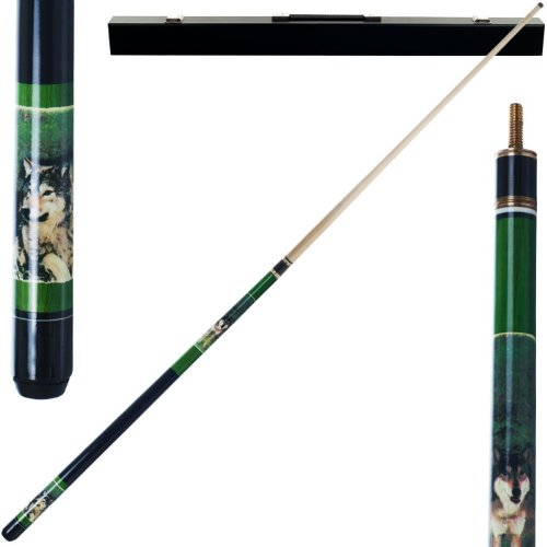 2 Piece Hardwood Gray Wolf Design Pool Stick Cue - With Carrying Case! by TMG