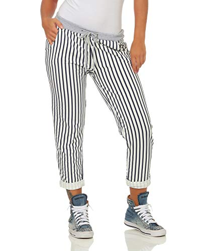 a Pantaloni sportivi Pantaloni sportivi righe a over Boyfriend donna Pantaloni sportivi larghi ZARMEXX Bianco all Pantaloni righe Stampa xY5ROwnq