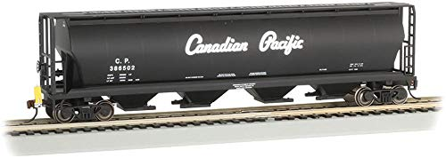 Canadian 4-Bay Cylindrical Grain Hopper with Flashing End of Train Device Canadian Pacific (Black W/Script Lettering) - HO ()