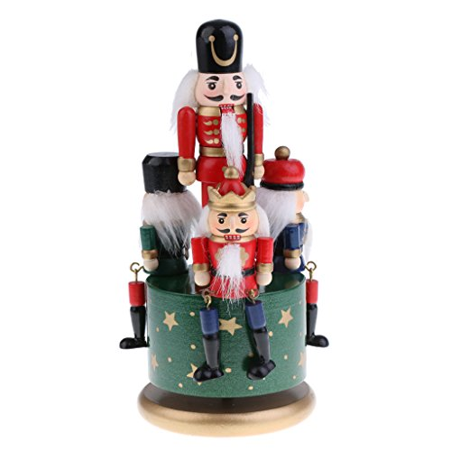 Flameer Handmade Wooden Nutcracker Music Box Wind Up Clockwork Toy Soldier Figures Home Decor Ornaments Collectibles - Green