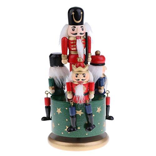 Handmade Nutcracker Wooden - Flameer Handmade Wooden Nutcracker Music Box Wind Up Clockwork Toy Soldier Figures Home Decor Ornaments Collectibles - Green
