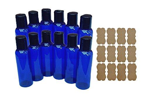 12 2oz Blue PET Plastic Bottles Durable and Reuseable w/Smooth Black Disc Top Caps 2oz 60ml Plus Kraft Labels (Plastic Disk)