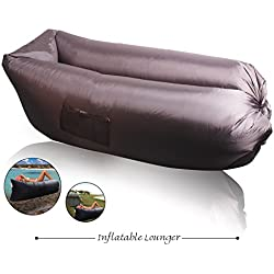 XYH Inflatable Lounger Couch,Portable Blow Up Lounge Chair,Pool Air Hammock,Hangout Lazy Sofa ,Waterproof Wind Breeze Bean Bag,Fast Inflate Lounger for Beach,Camping. (New -black)