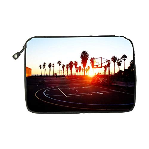 (Basketball Court Sunset Electronic Accessories Bag Travel Storage Bags Universal Zipper Package Multi-Purpose USB Cable Pouch For Mini Tablet)