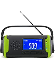 Solar Dynamo Crank Radio FM, Radio with WB/AM/FM, LED Flashlight, SOS Signal, with LCD Screen + 4000mAh as Power Bank, Charging The Mobile Phone in an Emergency