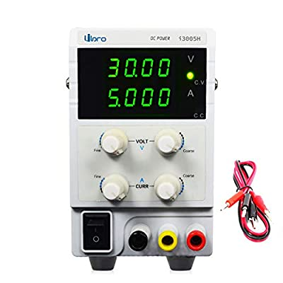 Bench DC Power Supply Variable 30V 5A Adjustable Lab DC Power Supply Regulated Low Noise High Resolution 4 Digit LED Displays with Alligator Cable