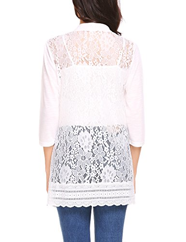 Venena Women's Basic Floral Lace Back Cover Up Stitching Open Front Cardigan White Large