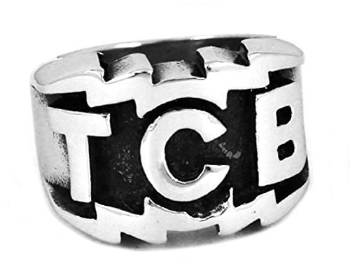 New Horizons Production Elvis The King of Rock TCB Stainless Steel Cosplay Metal Ring - Multiple Sizes (14)