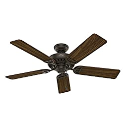 Hunter 53067 Studio Series 52-inch New Bronze Ceiling Fan with Five Walnut/Cherry Blades and Light Kit