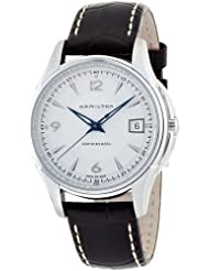 Hamilton Mens H32455557 JazzMaster Viewmatic Silver Dial Brown Strap Watch