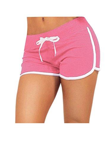 Cotton Pink Short - Yoga Running Workout Shorts Tankoo Athletic Elastic Waist Pink M