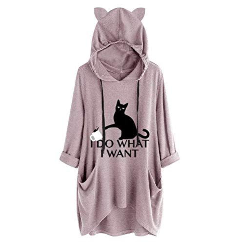 T-shirt Pink Womens Cat - Sweatshirts for Women Hoodie Pullover Cute Casual Print Cat Ear Irregular Top with Pocket Toponly Pink